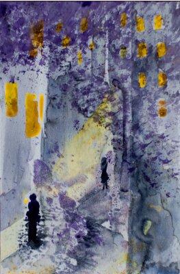 Obraz Akwarela abstrakcyjny krajobraz miejski