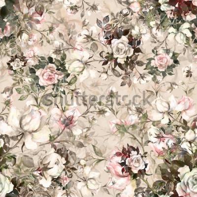 Obraz Akwarela bezszwowe bukiet róż w bud Y. Piękny wzór do dekoracji i projektowania. Modny nadruk. Wykwintny wzór akwareli szkice kwiatu. Stonowanych