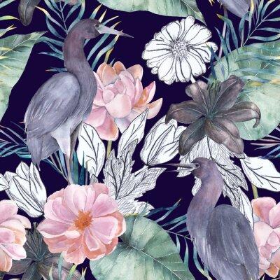 Obraz Akwarela bezszwowe wzór z elementami tuszu. Egzotyczne ptaki i kwiaty. Ręcznie rysowane ilustracji