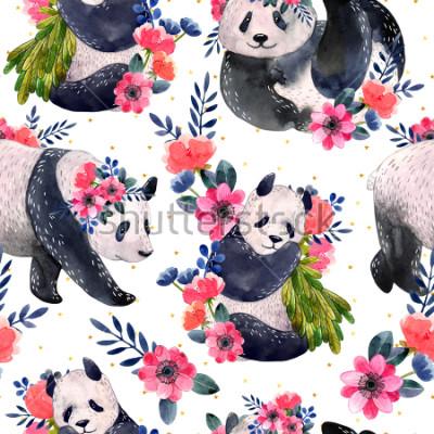 Obraz Akwarela bezszwowe wzór z pandy i kwiaty na białym tle na białym tle. Złote gwiazdy na tle. Akwarela ilustracja.