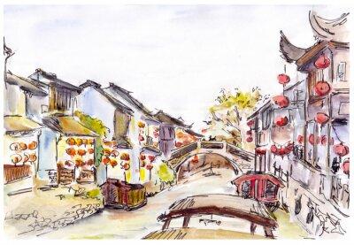 Obraz Akwarela - Canal wody w Starym Mieście w Chinach. Czerwone latarnie.