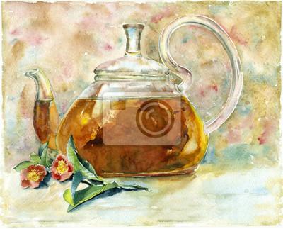 Akwarela czarna herbata w szkła czajniczek