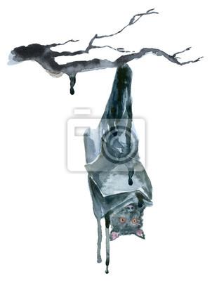 Akwarela czarny nietoperz.