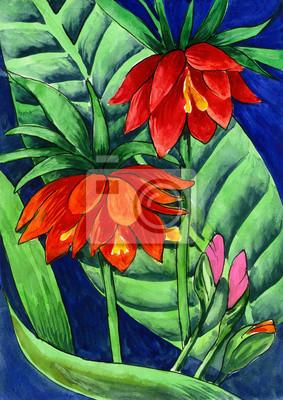 Obraz akwarela - czerwone kwiaty na bagnach