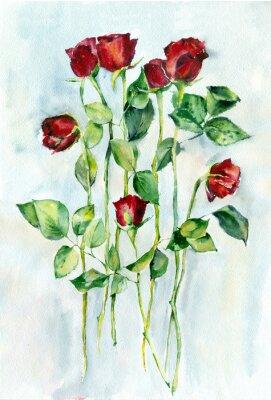 Obraz akwarela. Czerwone róże z zielonymi liśćmi na długich łodygach.