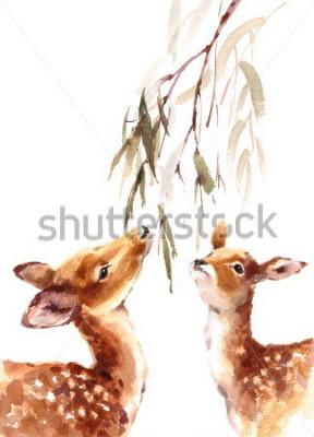 Obraz Akwarela Dwa Deers Patrzeje Do śniadanio-lunch z liśćmi Malująca ilustracja z animowaną na białym tle
