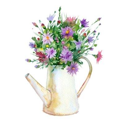 Akwarela Dzbanek (konewka) kwiatów.