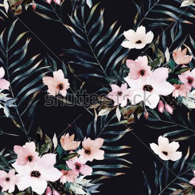Obraz Akwarela egzotyczny wzór, zielone liście tropikalne, kwiaty, ilustracja botaniczna lato na czarnym tle