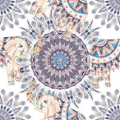 Obraz Akwarela etniczne słonia i pióro mandali tło. Abstrakta piórkowy mandala dostępny wzór z ozdobnymi indyjskimi słoniami na białym tle. Ręcznie malowane ilustracje boho, tribal design
