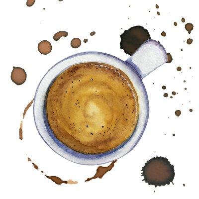Obraz Akwarela filiżanka kawy espresso z plamy i znaki kawy wokół, widok z góry.