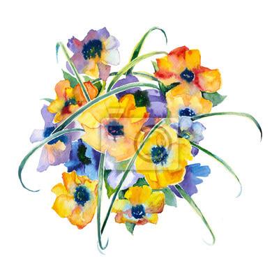 Akwarela fioletowe i żółte kwiaty