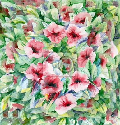 akwarela. Floral tle. Czerwone kwiaty i zielone liście.