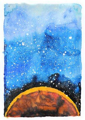 Obraz Akwarela galaxy ilustracji. Planeta Mars.