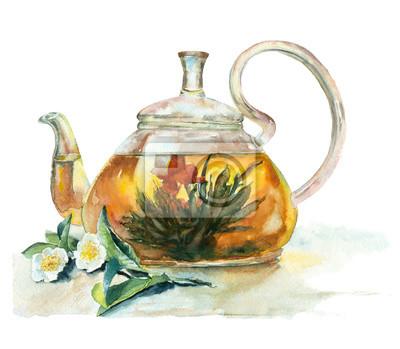 Akwarela herbaty w imbryku szkła