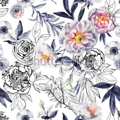 Obraz Akwarela i atrament doodle kwiaty, liście, wzór chwastów. Ręcznie malowane, ciągnione tle kwiatów z piwonie, zawilce, Jaskier, pies róży, ziół łąkowych