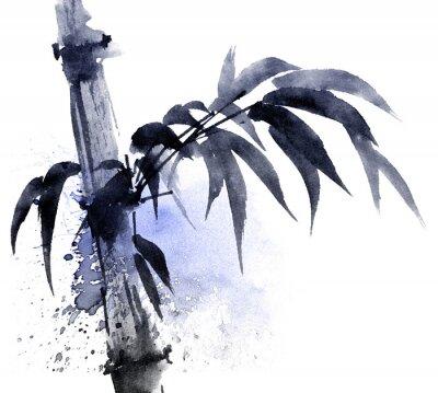Obraz Akwarela i atrament ilustracja bambusa z kolorami watersplashes. Orientalne tradycyjne malowanie w stylu sumi-e, u-sin. Artystyczna ilustracja.