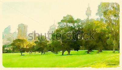 Obraz akwarela ilustracja Sydney Central Park