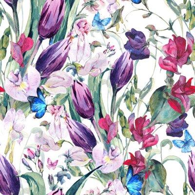 Obraz Akwarela Jednolite tło z zielonym groszkiem, tulipany