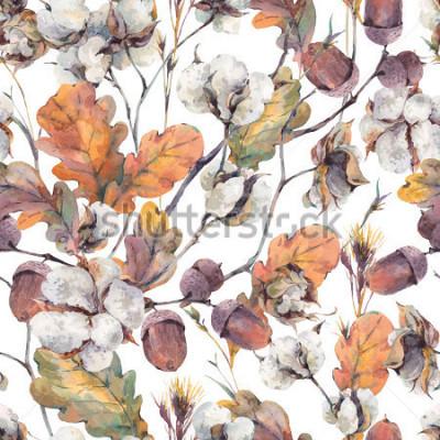 Obraz Akwarela jesień tło z gałązek, kwiat bawełny, żółte liście dębu i żołędzie. Botaniczny akwarela ilustracje wzór