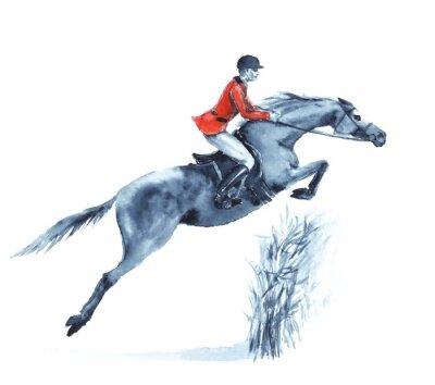Obraz Akwarela jeźdźca i konia, skoki przeszkodę w lesie na białym tle. Jeździec w czerwonym płaszczu na skoki z przeszkodami konkurencji. Anglia sport konny. Strony rysunku ilustracji.