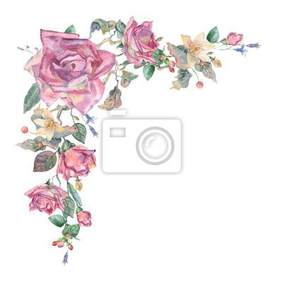 Akwarela kąt kwiatów elementy dekoracyjne