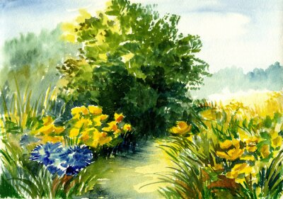 Obraz akwarela krajobraz