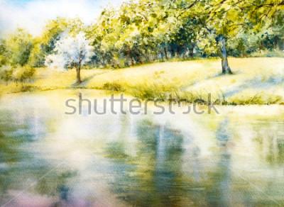 Obraz Akwarela krajobraz. Park letni. Natura. Akwarela ilustracja botaniczna. Krajobraz z jeziorem. Wybrzeże
