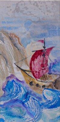 Obraz Akwarela krajobraz z płynącego statku na wzburzonym morzu do sieci LAN