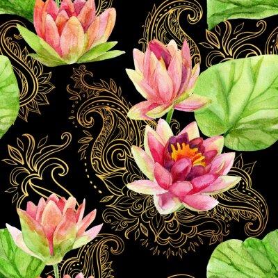 Obraz akwarela kwiat lotosu na złotym ornamentem. Jednolite wzór