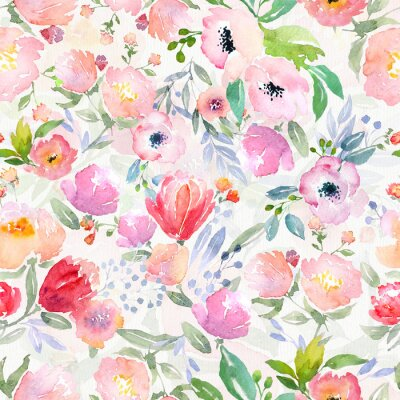 Obraz akwarela kwiatowy wzór
