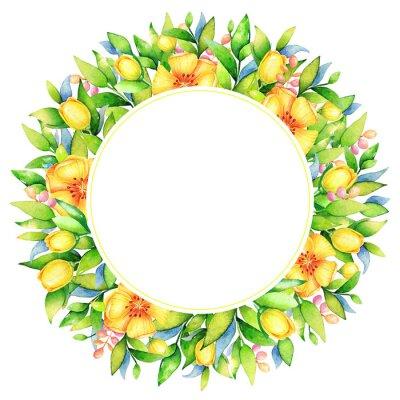 Akwarela kwiatowy wzór, żółte kwiaty z zielonych liści i puste miejsce na tekst na białym tle. Przydatne na powitanie, wesele, karty dnia matki, element projektu notatnik.