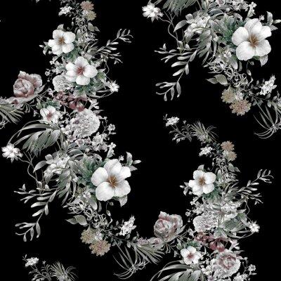 Obraz Akwarela liści i kwiatów, szwu na ciemnym tle