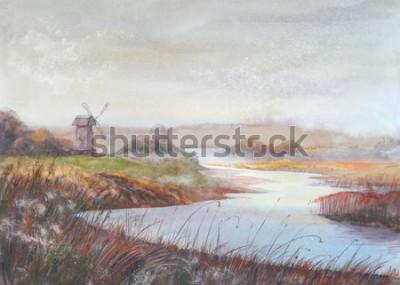 Obraz Akwarela malarstwo krajobraz. Rzeka i stary wiatrak. Akwarela ilustracja.