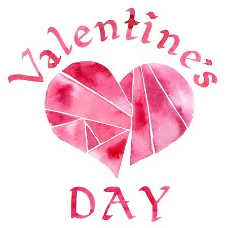 Akwarela malowane Walentynki kartkę z życzeniami z serca i tekst