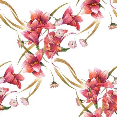 Obraz Akwarela malowanie liści i kwiatów, bez szwu deseń na białym tle