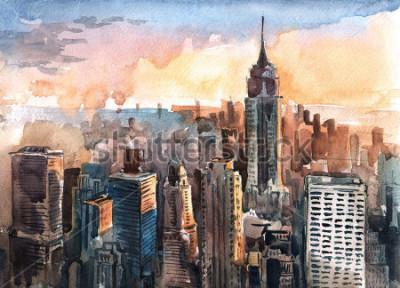 Obraz Akwarela Manhattan drapacze chmur przy zmierzchem - Nowy jork miasto góruje