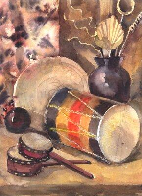 Obraz Akwarela Martwa natura z bębnem