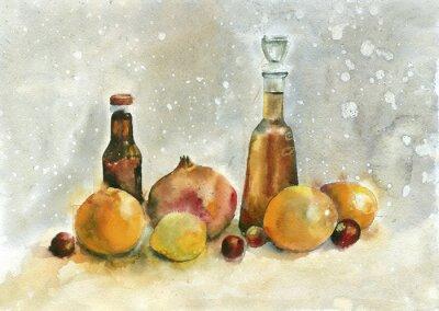 Obraz akwarela. Martwa natura z pomarańczy, granatów i butelek na tle archiwalne.