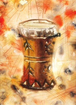 Obraz Akwarela martwa natura z tom-tom