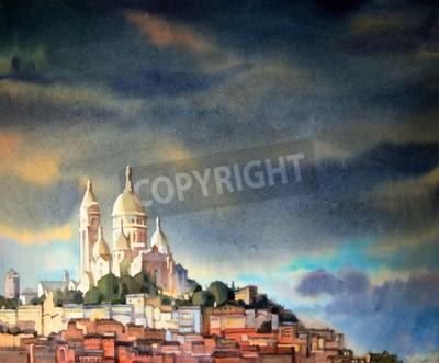 Obraz Akwarela na Montmartre w Paryżu, we Francji miasta.