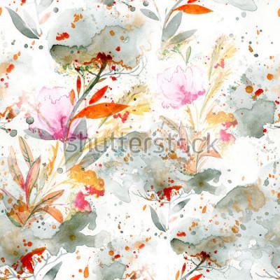 Obraz akwarela naiwna - nalewanie i chlapanie. motywy kwiatowe. ręcznie malowany wzór. tło dla wystroju i projektowania tekstyliów. tapeta botaniczna. boho chic sztuka kwiatowy ramki