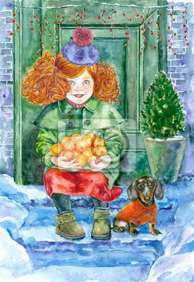akwarela. Nowy Rok kartkę z życzeniami. Dziewczyna i mandarynki na śniegu ganek.