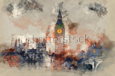 Obraz Akwarela obraz Big Ben i domy parlamentu podczas zimy zmierzchu.