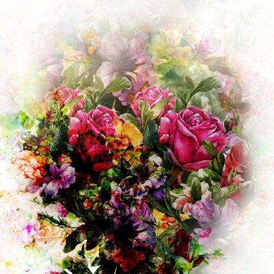 Obraz Akwarela obraz kwiatu, ró? A na bia? Ym tle