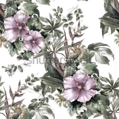 Obraz Akwarela obraz liść i kwiaty, bezszwowy wzór na białym tle