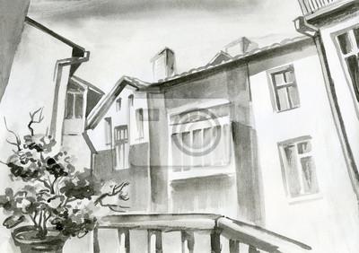 akwarela, ołówkiem, ołówek - widok z okna