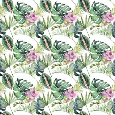 Obraz Akwarela ornament z tropikalnych kwiatów i liści na ślub, wakacje, karty z pozdrowieniami, plakaty, książki, koperty, album fotograficzny. Ilustracja na białym tle.