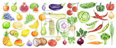 Obraz Akwarela owoce i warzywa ustawić. Soczyste i kolorowe owoce na białym tle, w tym jabłek, kokosowym, wapna, pomidory, ogórki i inne. Dieta wegetariańska żywność z witaminami.
