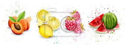 Obraz Akwarela owoce zestaw wektor. Morelowe, cytrynowe, malinowe, arbuzowe pyszne ilustracje