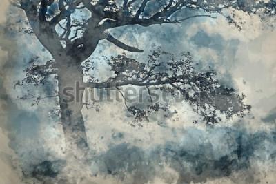 Obraz Akwarela piękny krajobraz wsi wokół Cummock wody jesienią w mglisty poranek